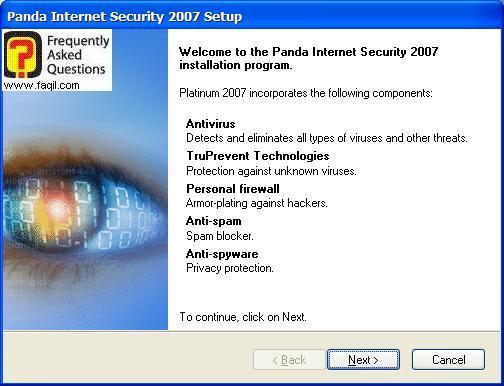 מסך ברוכים הבאים להתקנה, Panda Internet Security 2007