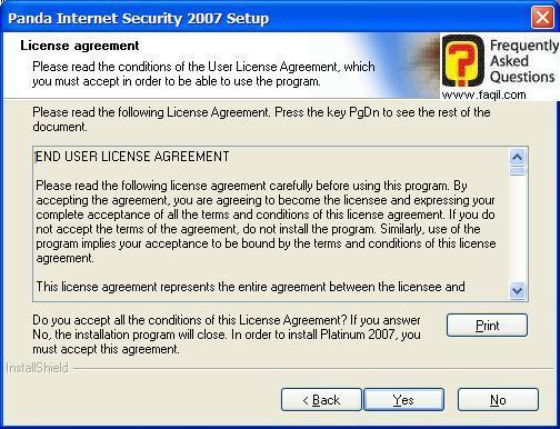 מסך תנאי שימוש להתקנה, Panda Internet Security 2007