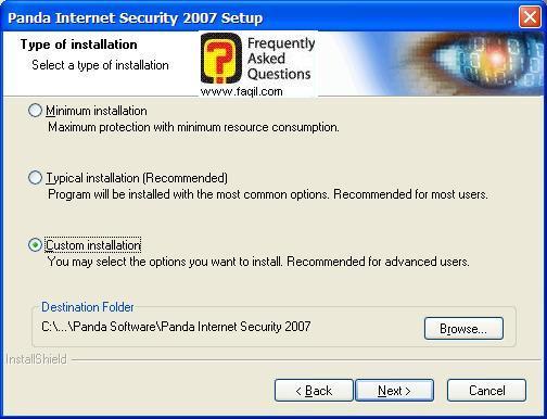 מסך התקנה מותאמת אישית, ומיקום היעד להתקנה, Panda Internet Security 2007