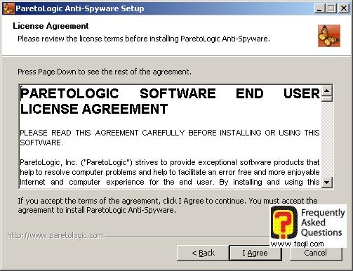 מסך הסכם הרישיון  להתקנה, parelogic-anti spyware