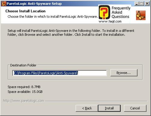 מסך מיקום היעד  להתקנה, parelogic-anti spyware