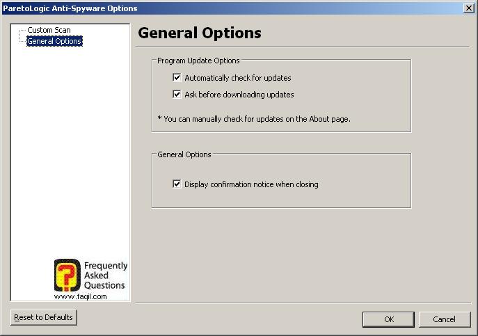 הגדרות כלליות, parelogic-anti spyware