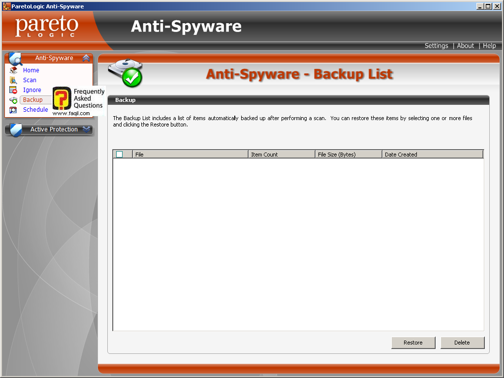 רשימת גיבוי, parelogic-anti spyware