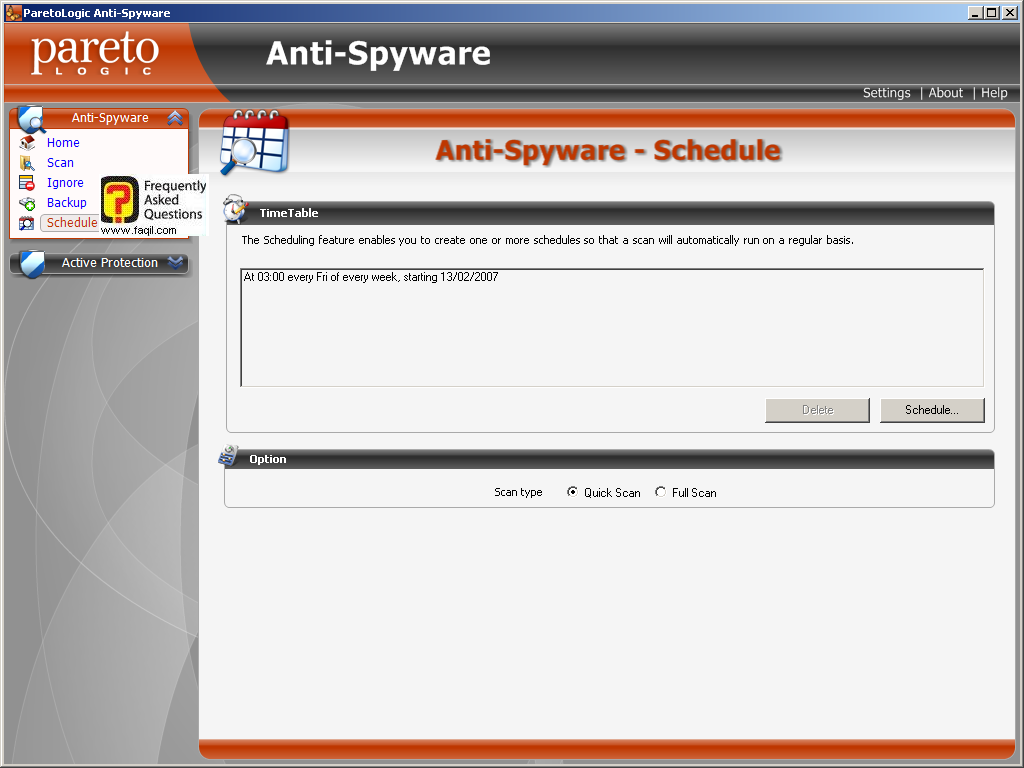 רשימת תזמון, parelogic-anti spyware