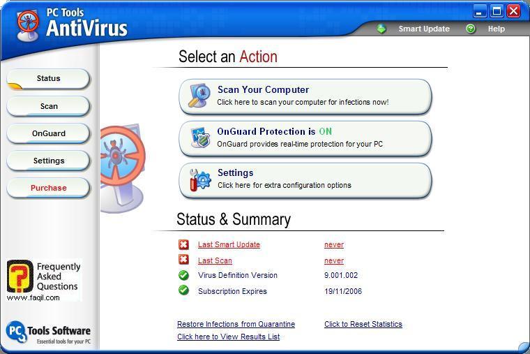 המסך הראשי,תוכנת  PC Tools AntiVirus