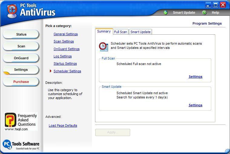 הגדרות לוח זמנים,תוכנת  PC Tools AntiVirus