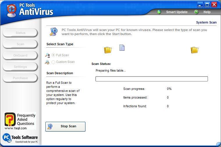 סריקה של האנטיוירוס,תוכנת  PC Tools AntiVirus