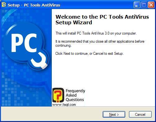 מסך ברוכים הבאים להתקנה,תוכנת  PC Tools AntiVirus