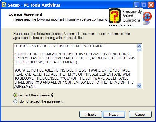 מסך תנאי שימוש להתקנה,תוכנת  PC Tools AntiVirus