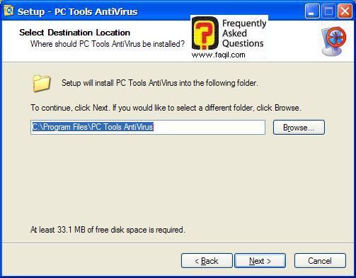 מסך מיקום היעד להתקנה,תוכנת  PC Tools AntiVirus