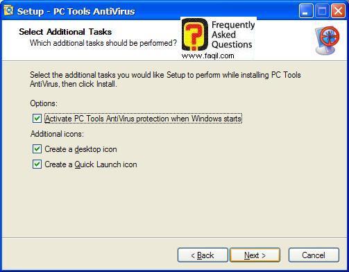 מסך יצירת אייקונים  בהתקנה,תוכנת  PC Tools AntiVirus