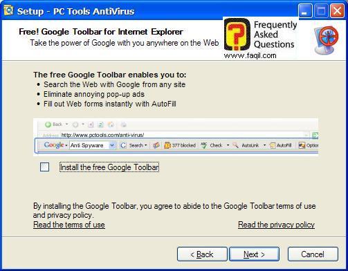 מסך סרגל כלים  בהתקנה,תוכנת  PC Tools AntiVirus