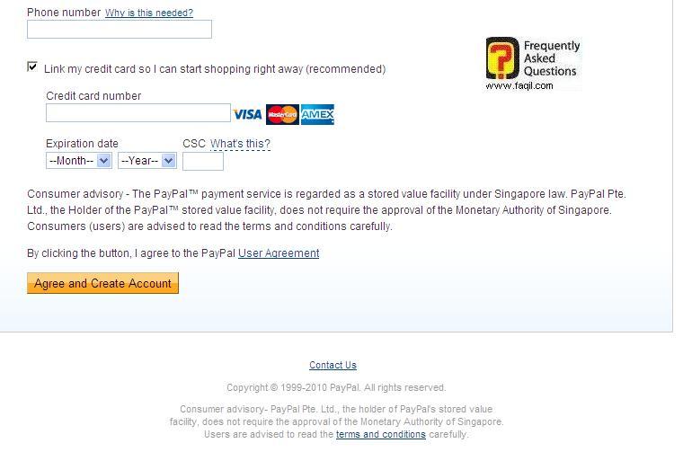 הזנת כרטיס אשראי וטלפון , בהרשמה לפייפל (paypal)