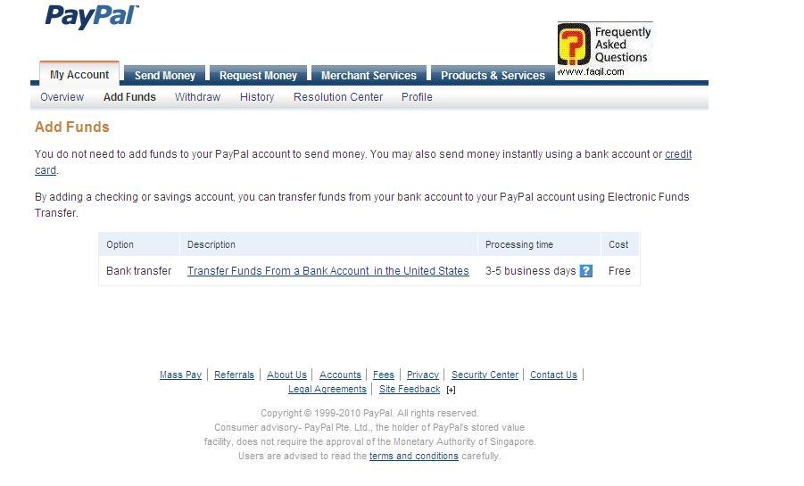 הזנת חשבון בנק או כרטיס אשראי נוסף, פייפל (paypal)