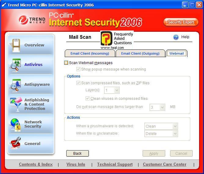 לשונית Webmail, בPC cillin