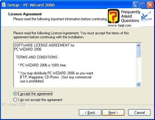 מסך תנאי שימוש להתקנה, Pc Wizard
