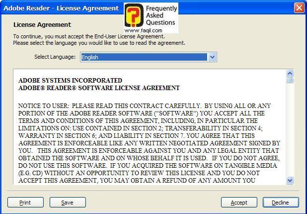 הסכם השימוש, תוכנת Acrobat