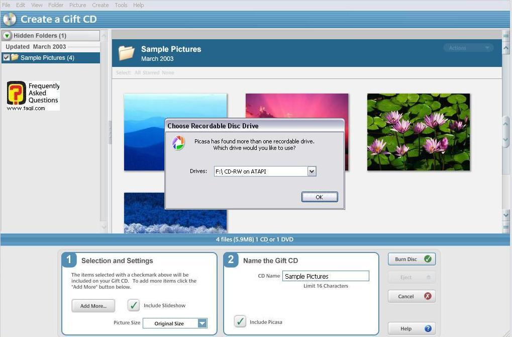 בחירה בCreate a gift disk,תוכנת  picasa