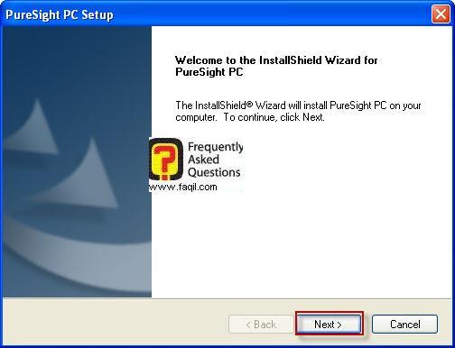 מסך ברוכים הבאים להתקנה,תוכנת PureSight