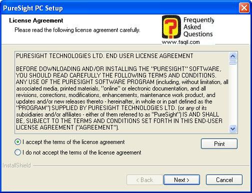 מסך הסכם הרישיון לשימוש,תוכנת PureSight