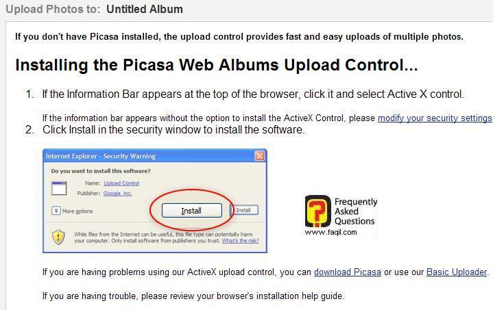להתקין קובץ activex, שירות אלבום תמונות  של גוגל