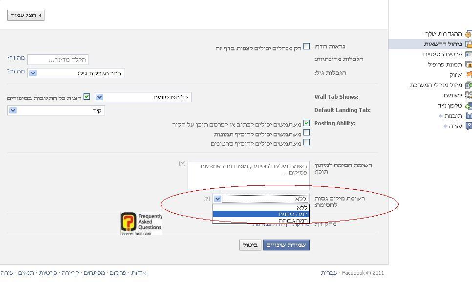 הגדרת רמת גישה בעמוד  פייסבוק