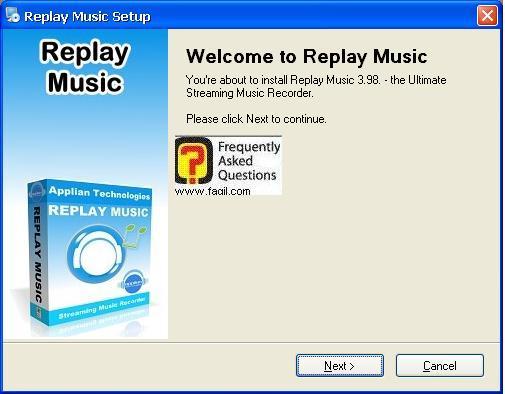 מסך ברוכים הבאים להתקנה, תוכנת Replay Music