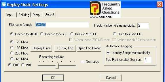 לשונית Output , תוכנת Replay Music