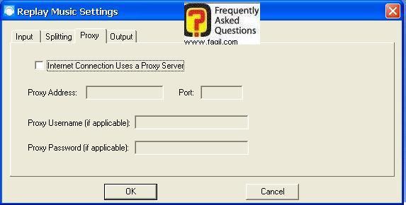 לשונית Proxy, תוכנת Replay Music