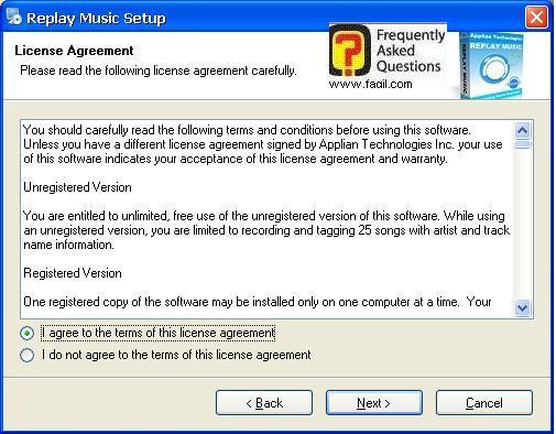 מסך הסכמה לתנאי הרישיון, תוכנת Replay Music