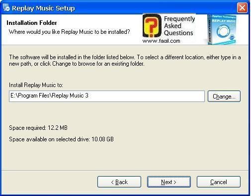 בחירת מיקום היעד להתקנה, תוכנת Replay Music