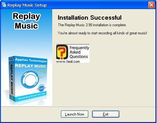 סיום ההתקנה, תוכנת Replay Music