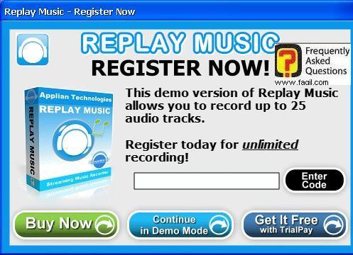 הקלדת קוד הרישיון, תוכנת Replay Music