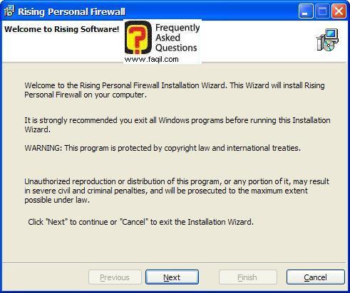 מסך ברוכים הבאים להתקנה,תוכנת Rising Personal Firewall