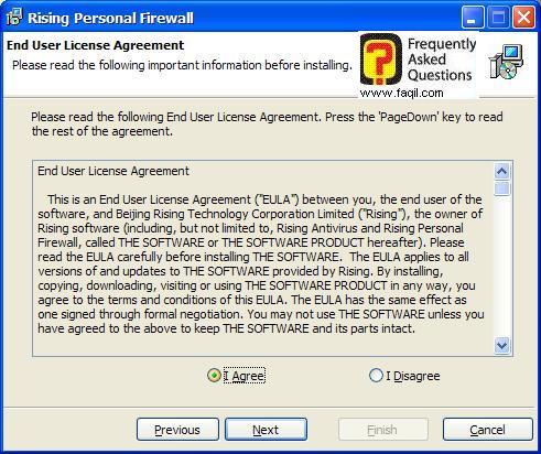 מסך תנאי שימוש להתקנה,תוכנת Rising Personal Firewall
