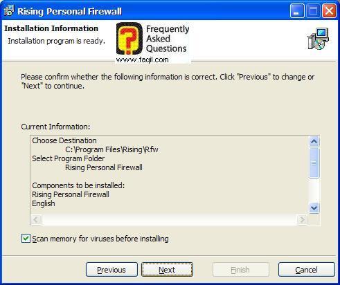 קרא לפני ההתקנה,תוכנת Rising Personal Firewall