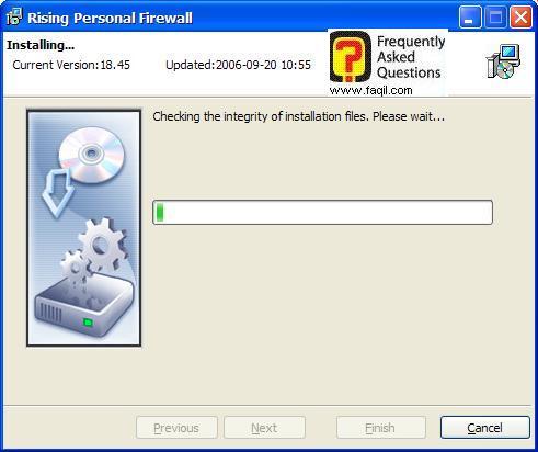 מתבצעת סריקה,תוכנת Rising Personal Firewall