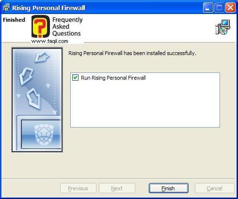 הסתיימה ההתקנה,תוכנת Rising Personal Firewall