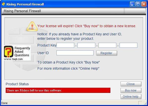 הקשת קוד המוצר,תוכנת Rising Personal Firewall