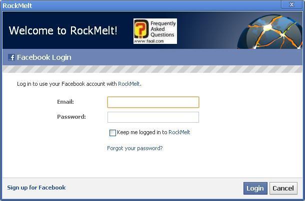 הקשת שם משתמש וסיסמא בפייסבוק, בדפדפן החברתי