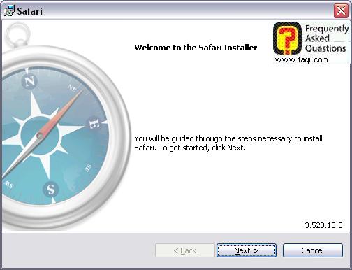 מסך ברוכים הבאים להתקנה,דפדפן SAFARI