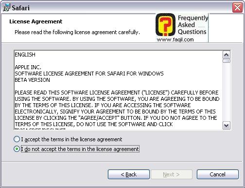 מסך הסכם הרישיון להתקנה,דפדפן SAFARI