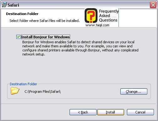 מסך נתיב ההתקנה,דפדפן SAFARI