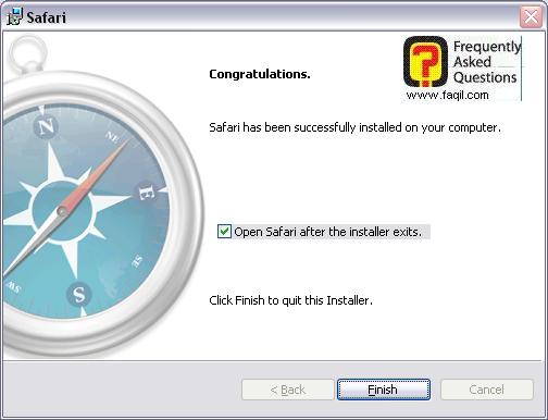 ההתקנה הסתיימה,דפדפן SAFARI