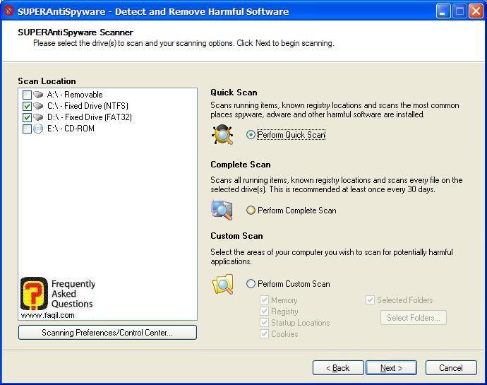 סריקת מהירה, SuperAntiSpyware Free Edition