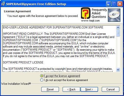 מסך תנאי שימוש להתקנה, SuperAntiSpyware Free Edition