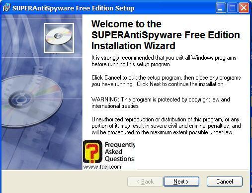 מסך ברוכים הבאים להתקנה, SuperAntiSpyware Free Edition