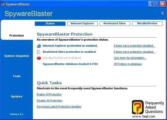 המסך הראשי,SpywareBlaster