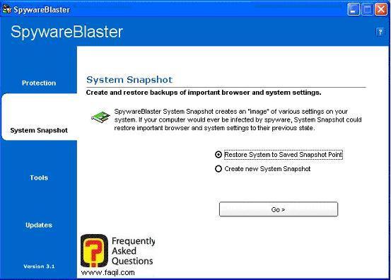 יצירת נקודת שחזור,SpywareBlaster