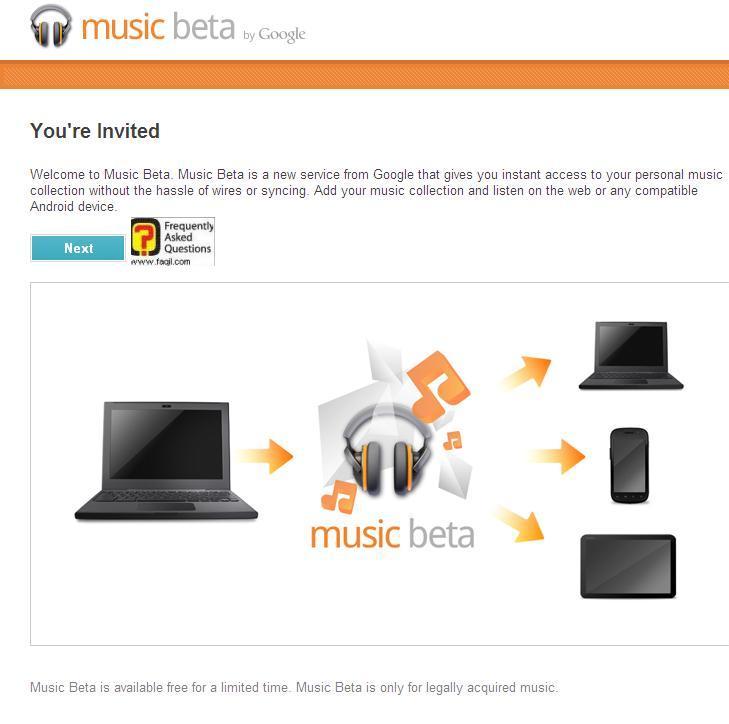 גוגל מוזיקה-יש ללחוץ הבא, כדי שיופיע תחילת השירות